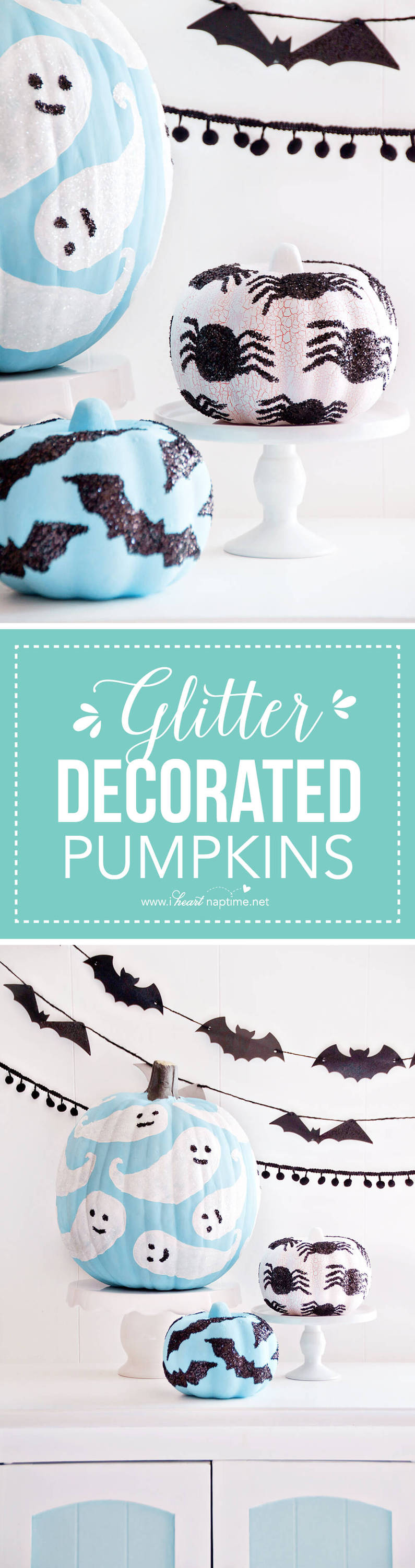 Glitter Decorated Pumpkins ...add a sparkly touch to your Halloween decor this season with these fun, glittered pumpkins!