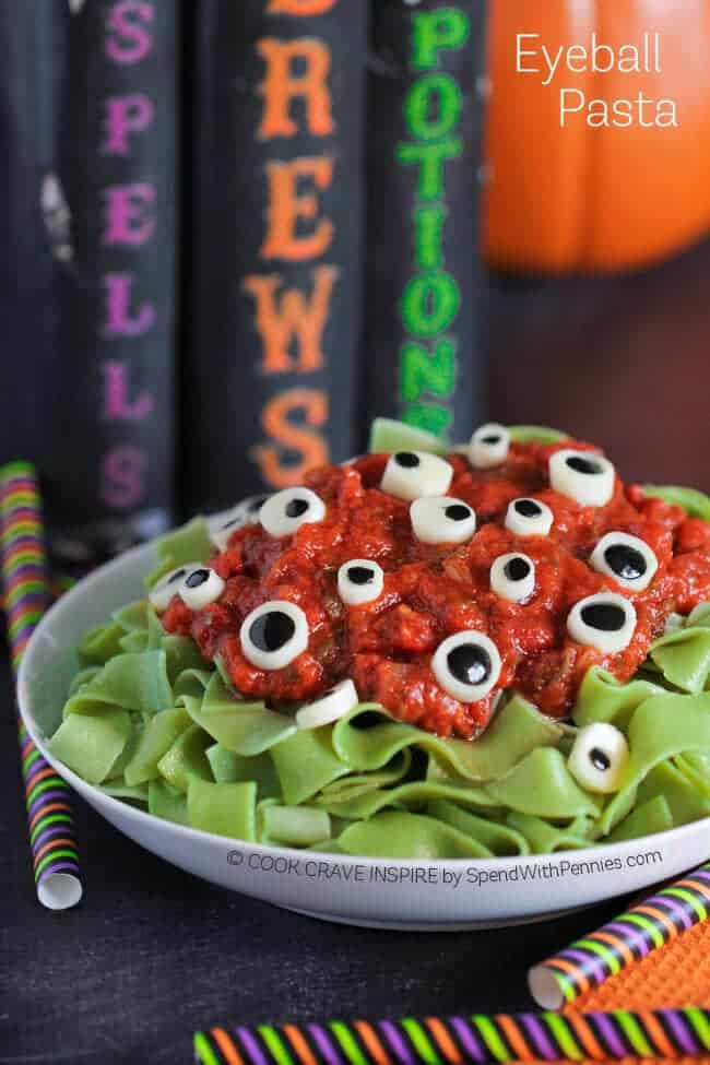 Top 50 Halloween Recipes... Eyeball Pasta