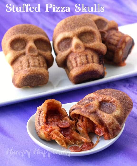 Top 50 Halloween Recipes... Stuffed pizza skulls