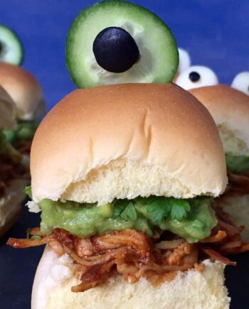 Monster Tex-Mex Chicken Sliders... a fun dinner idea for Halloween and parties!