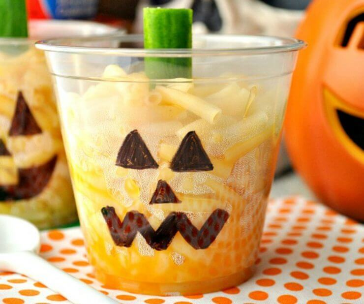Top 50 Halloween Recipes... Jack-o-lantern mac-and-cheese cups