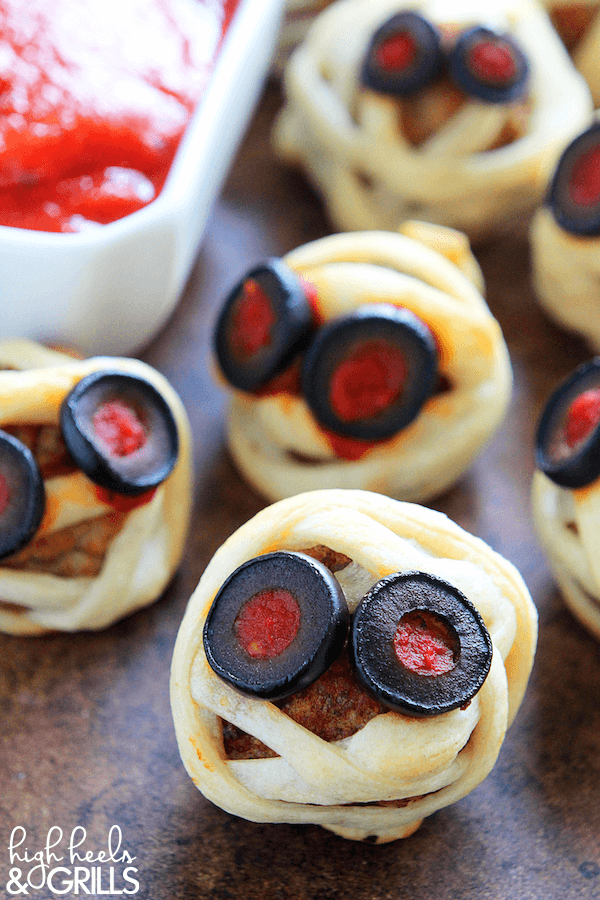 Top 50 Halloween Recipes... Meatball mummies