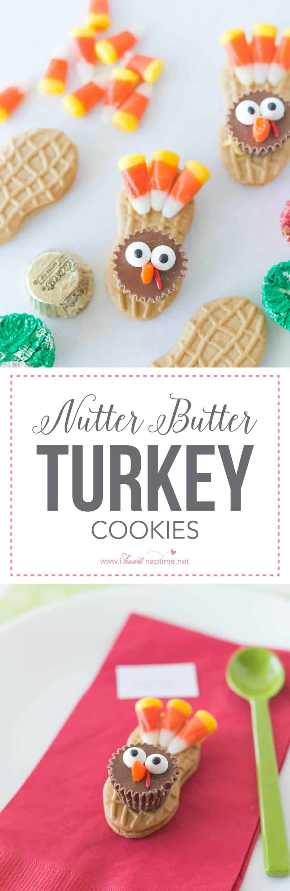 Nutter Butter Turkey Cookies ... a fun and festive treat for the kids! Not only can they help make these little gobbly friends, they can also use them as their special place setting.