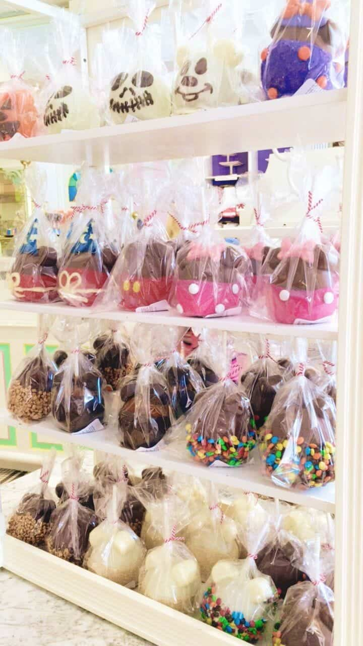 One of my favorite spots at Disney is the Main Street Bakery, the caramel apples are amazing!