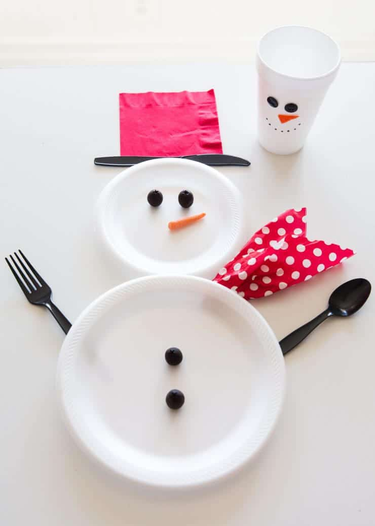Wrapped Christmas Table and Snowman Plates... making the snowman plates and cups!