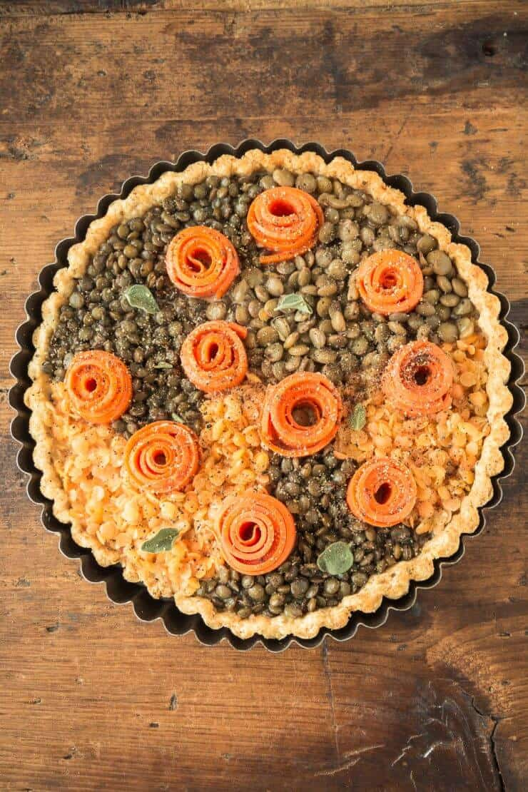 lentil and carrot tart in a pie pan
