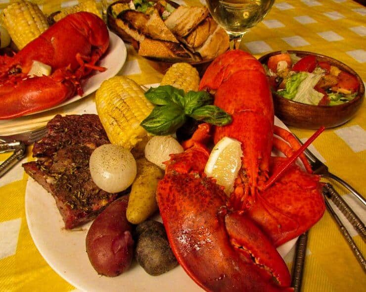 lobster bake on a white plate