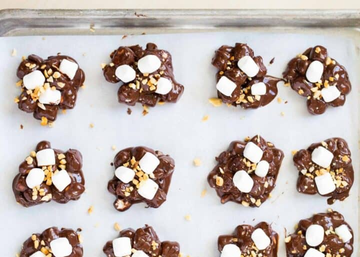 rocky road candy on baking sheet