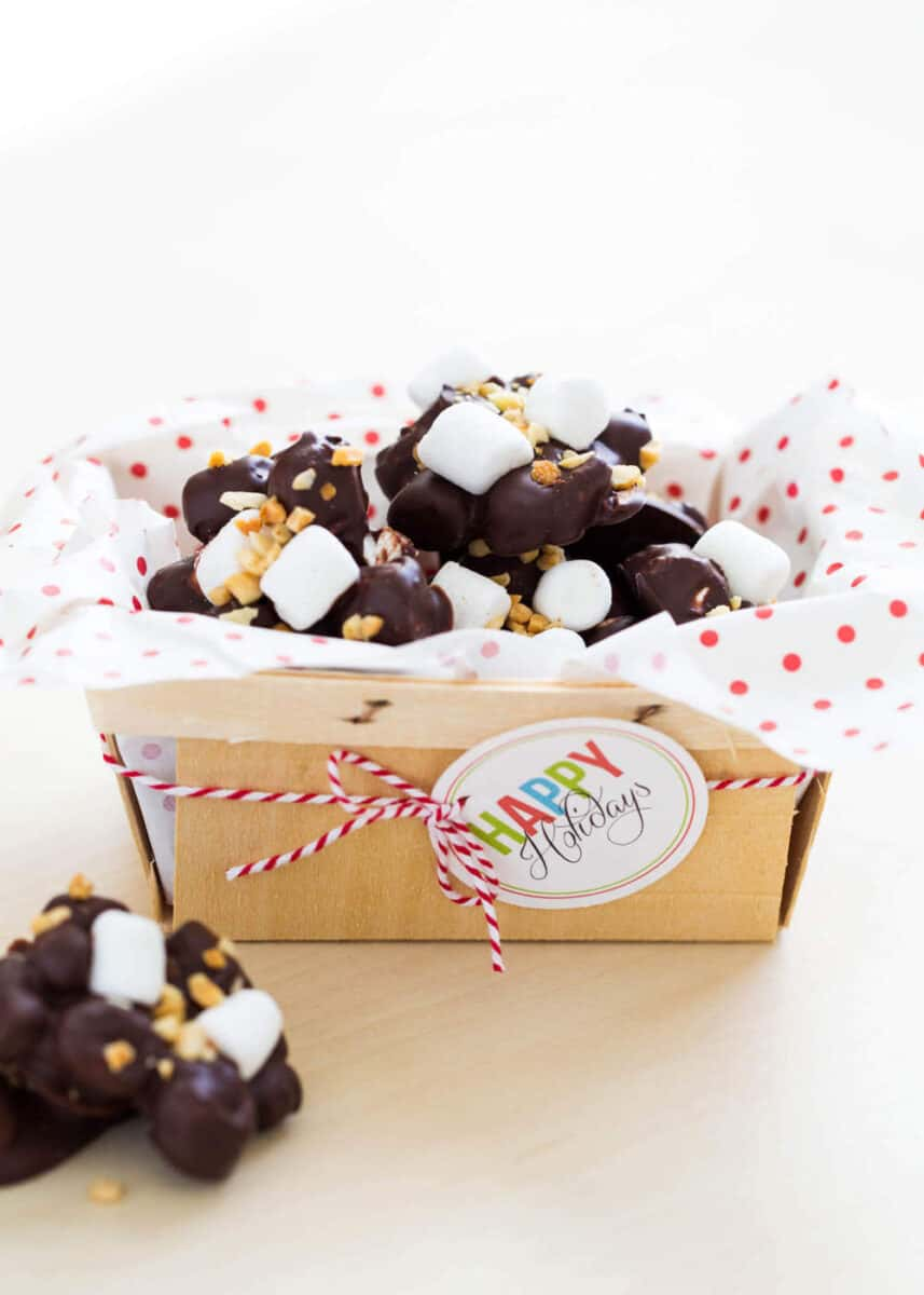 rocky road candy gift box with christmas tag