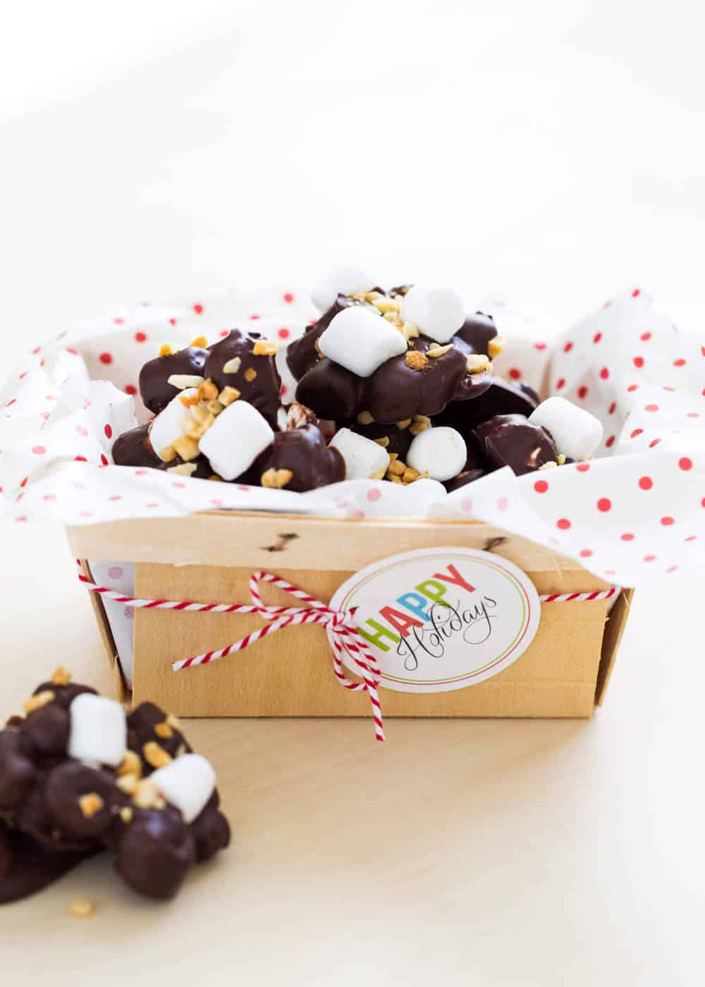 rocky road candy with free christmas tag printable