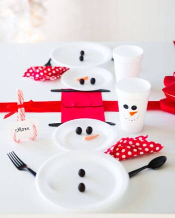 Wrapped Christmas Table and Snowman Plates