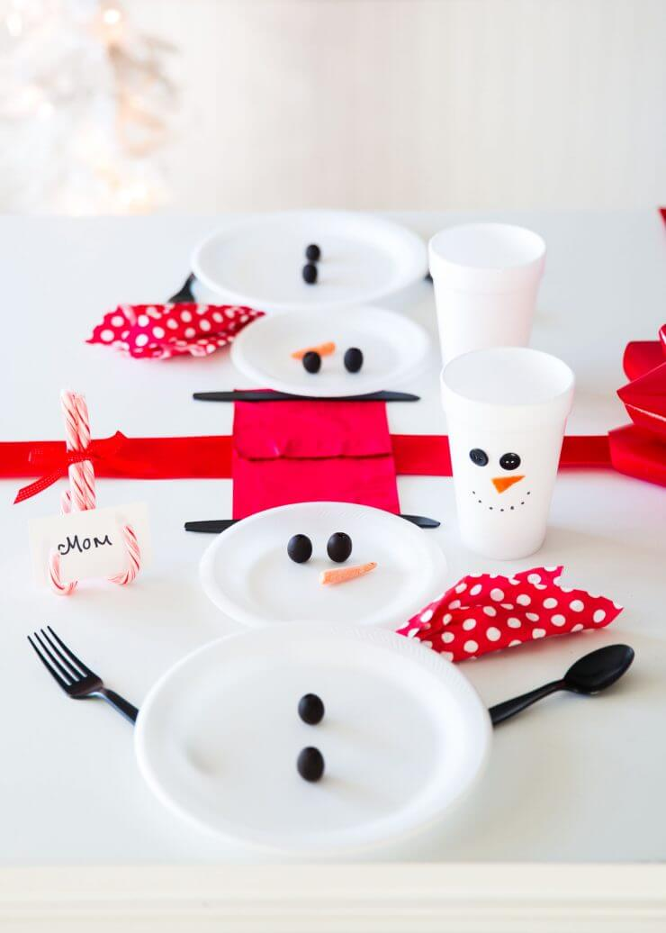 Wrapped Christmas Table and Snowman Plates... setting the table