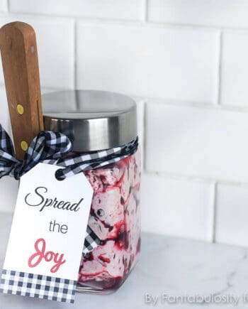 """Spread the Joy"" Homemade Butter Christmas Hostess Gift... an adorable, easy gift to bring along with you, so the hostess can use it for dinner that night or save it for future meals!"
