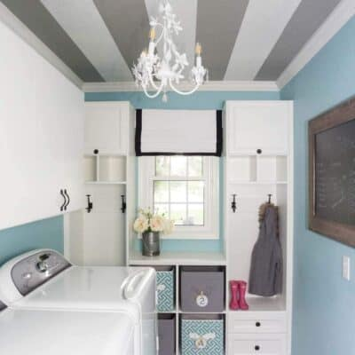 How to Paint a Striped Ceiling ... an unexpected striped ceiling in the laundry room is the perfect pop of surprise in a much-used room that helps making laundry more fun!