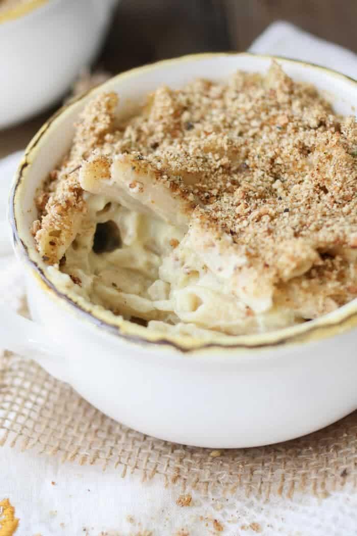 mac and cheese with crumb topping in dish