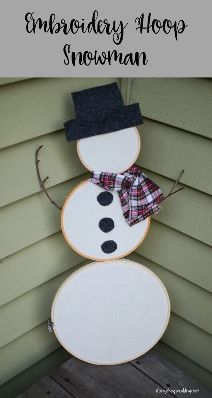Embroidery Hoop Snowman... a fun and easy DIY that you can customize to be as simple or detailed as you like. Perfect to leave out all winter long, too!