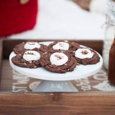 Hot Chocolate Cookies... super soft chocolate cocoa cookies with a roasted marshmallow on top!