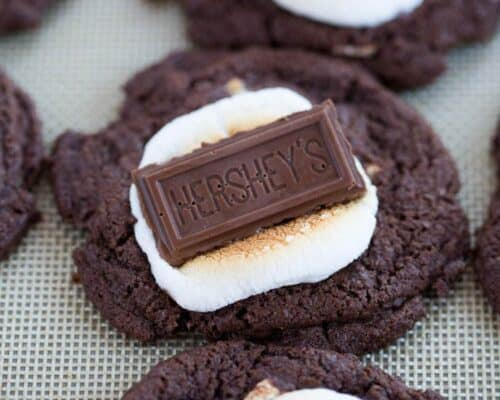 A close up of a hot chocolate marshmallow cookie