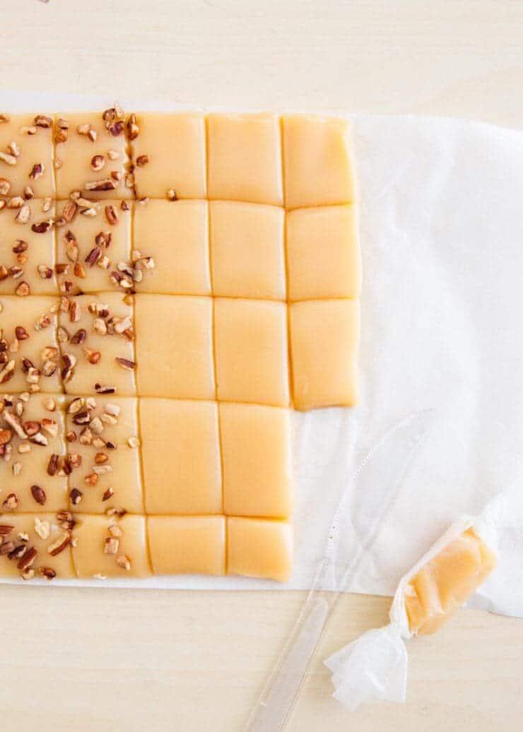 Sliced caramels
