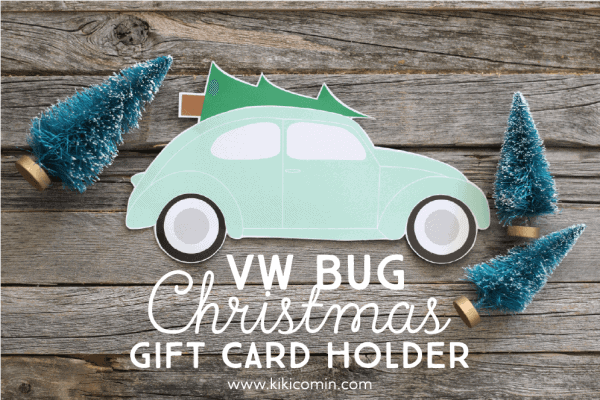 VW Bug Christmas Card Holder...this free, printable Christmas Gift Card holder is a fun and easy way to wrap up your gift cards for the holidays.