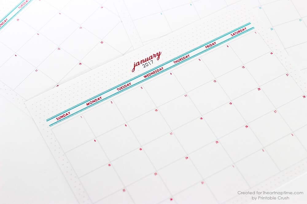 Free Printable  Monthly Calendar  I Heart Nap Time