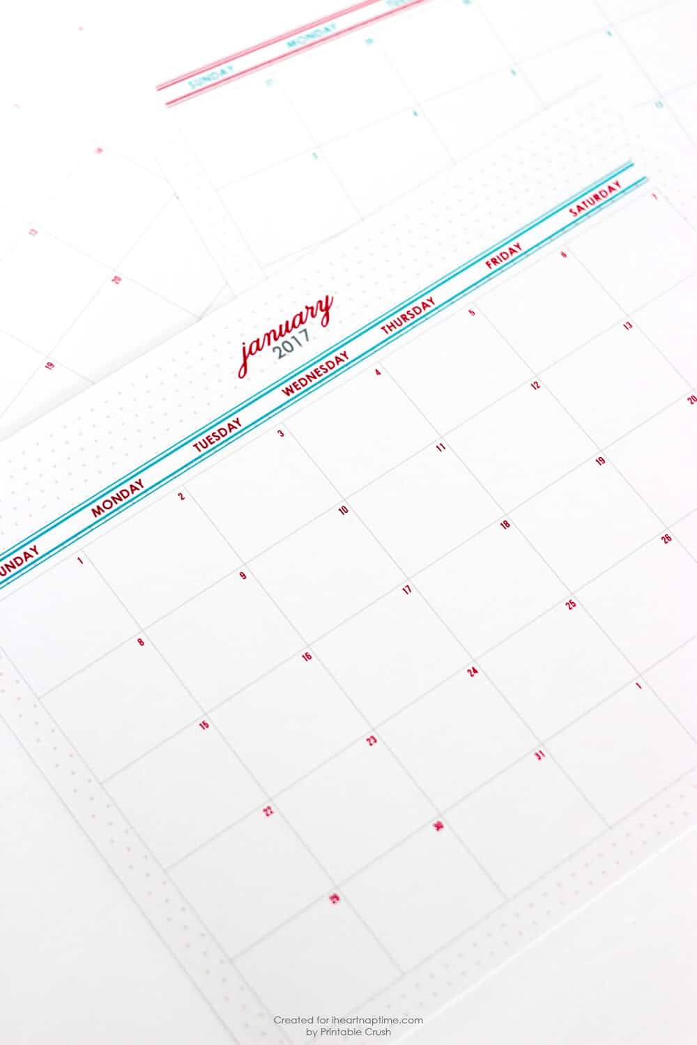 FREE Printable 2017 Monthly Calendar... download this FREE Printable 2017 Monthly Calendar to stay organized this year! It comes in two colors with a beautiful design.
