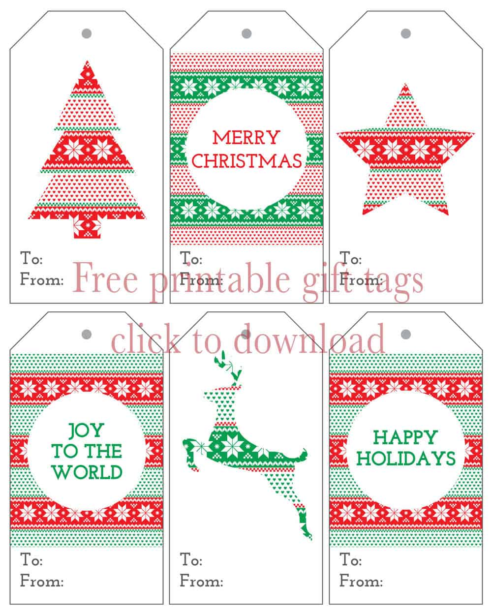 Six christmas gift tags free printables i heart nap time six christmas gift tags download these adorable free holiday tags to dress negle Image collections
