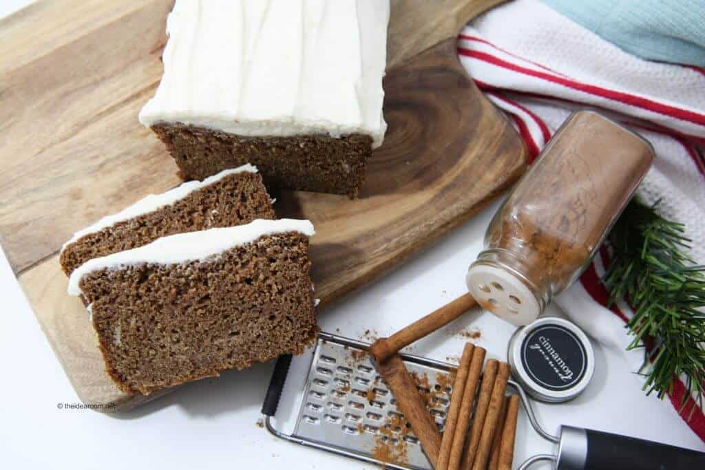 Gingerbread Loaf with Cream Cheese Frosting... a family favorite that is so easy to make, and tastes like it came from your favorite coffee shoppe!