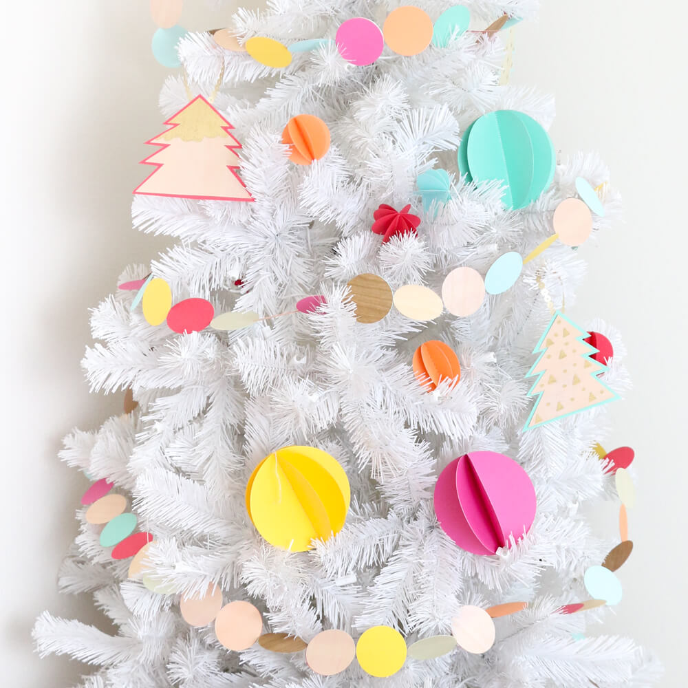 Colorful 3D sewn paper ornaments