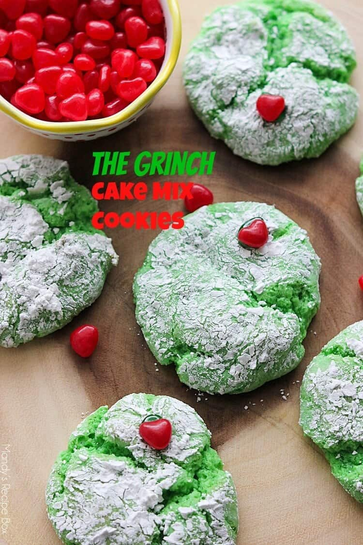 The Grinch Cake Mix Cookies... cake mix cookies are a delicious treat but turn them green and add a heart for The Grinch and they're even better!