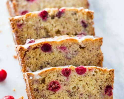 sliced cranberry banana bread
