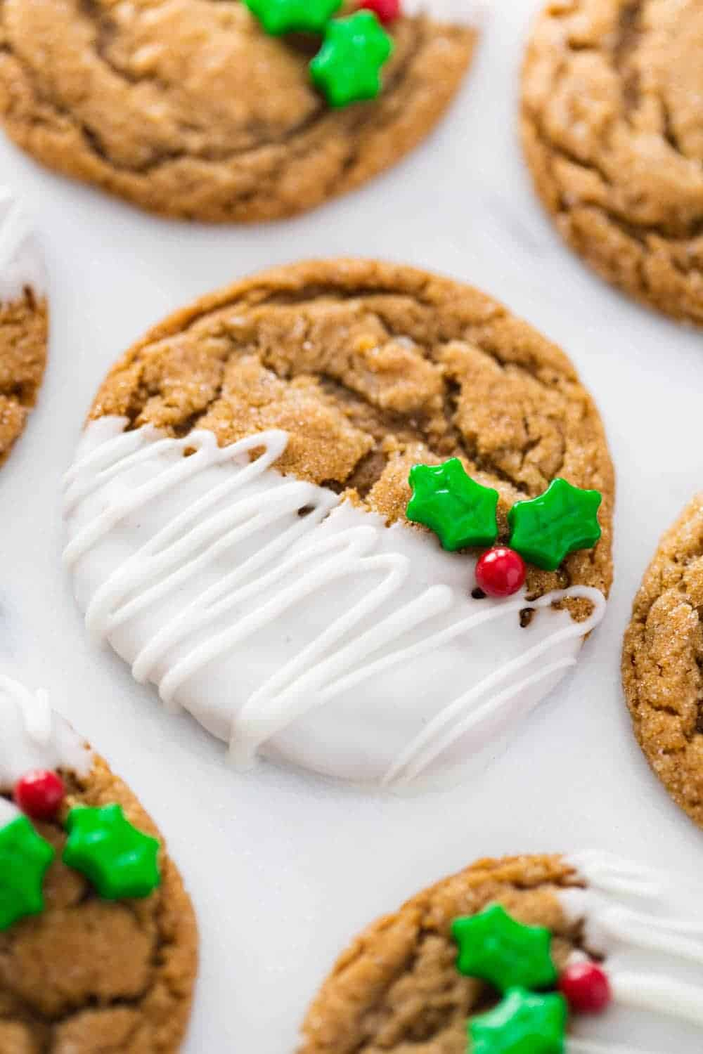 molasses cookies dipped in white chocolate