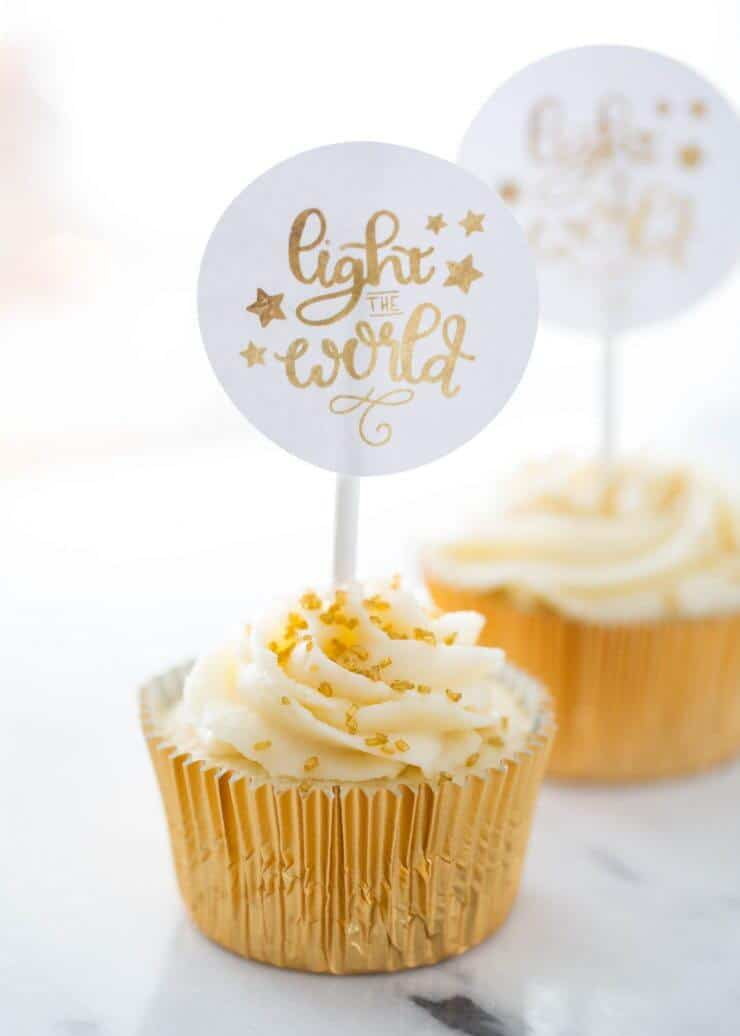 Light the World Designs... during this Christmas season, we participated in this wonderful initiative and it has been so valuable to focus on the true meaning of Christmas. Free printables for you to use, too! Light the World gold cupcakes.