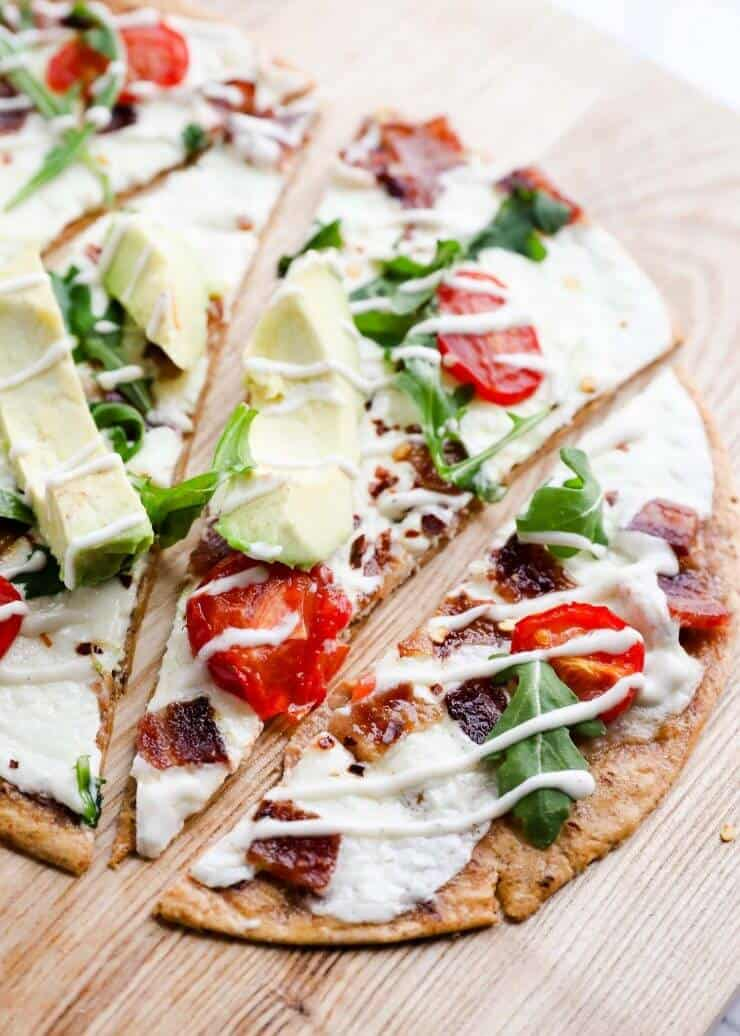 Ranch BLT Pizza with Avocado ...easy, delicious and light on calories! This recipe is super quick, tasty and has very little prep work.