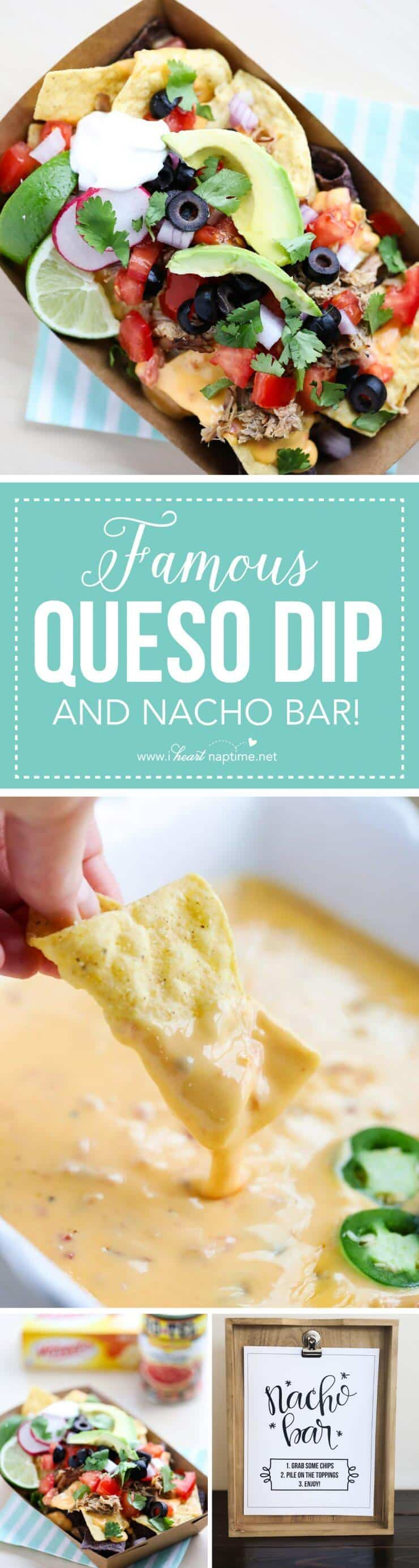 Nacho Bar free printables + Famous Queso Dip Recipe and all the fix-in's! The perfect game day appetizer.