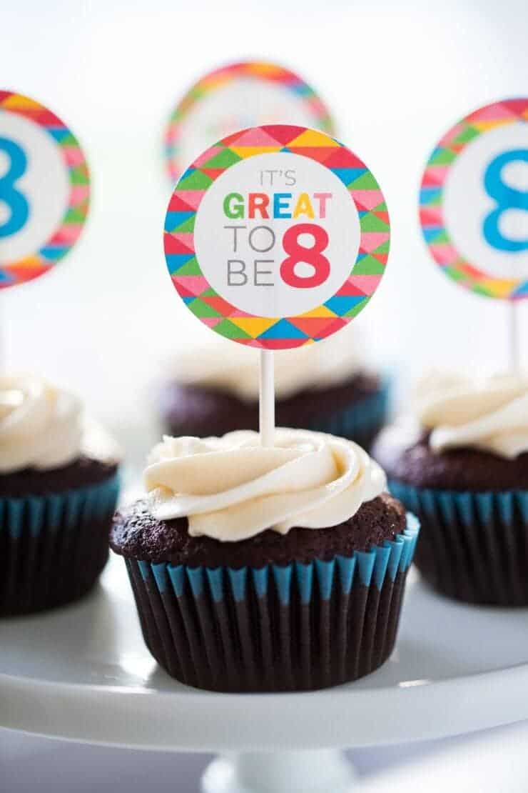 Great to be 8 free printables -cupcake toppers, treat bags, invitations and a banner!