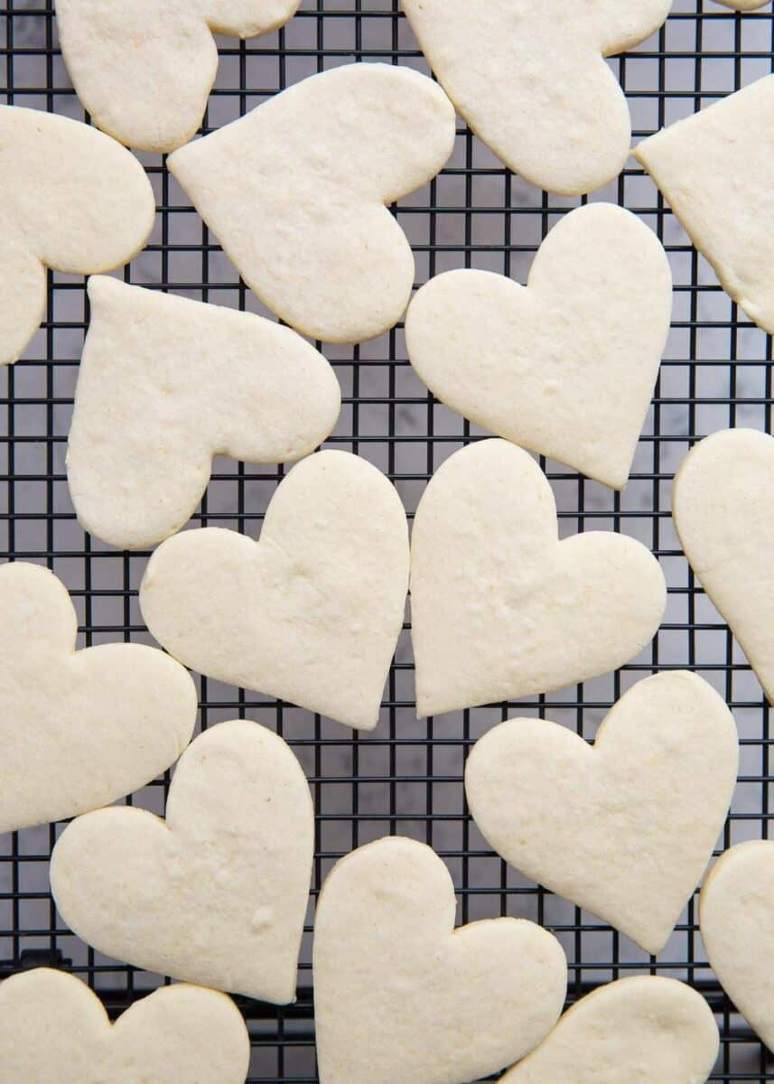 heart shaped empire biscuits on cooling rack