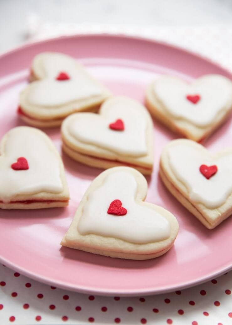 plate full of valentine empire cookies