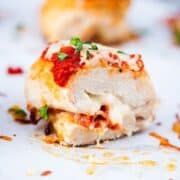 pizza chicken roll up on a plate