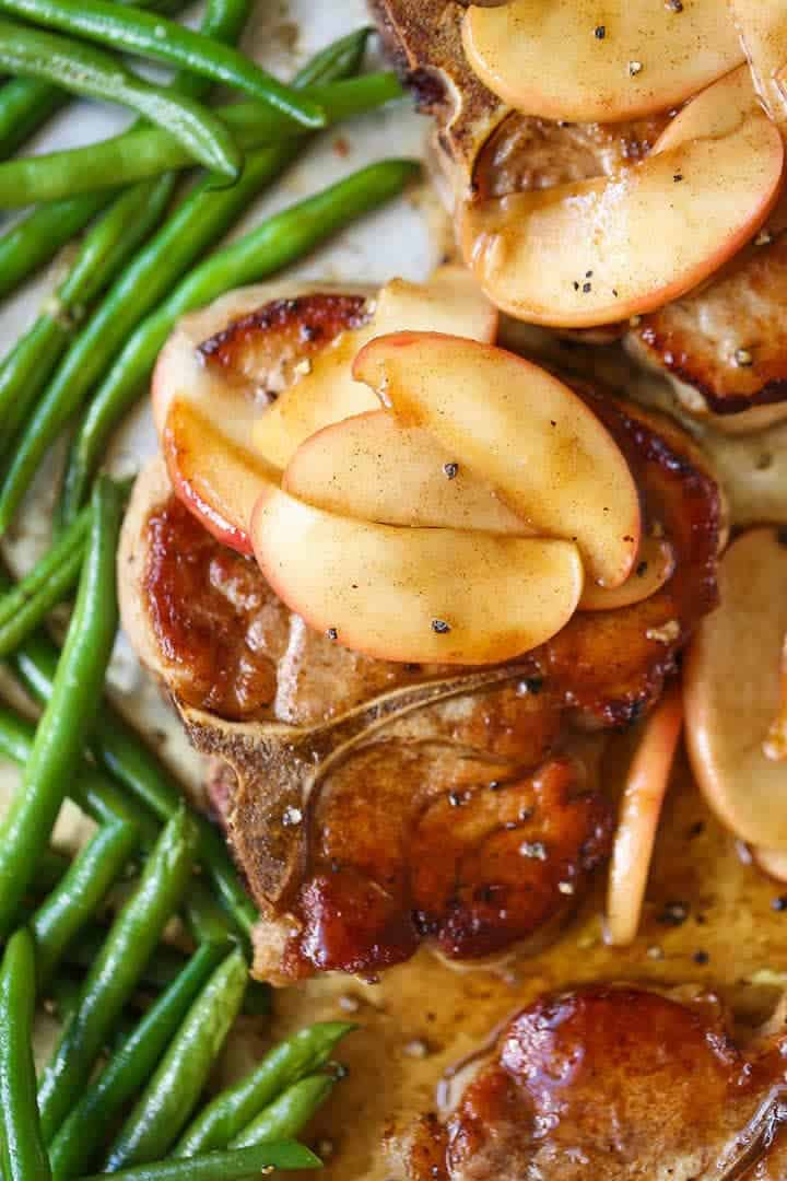 Apple pork chops + 25 Delicious Sheet Pan Dinner Recipes that will make dinnertime a dream with easy prep work and less dishes!