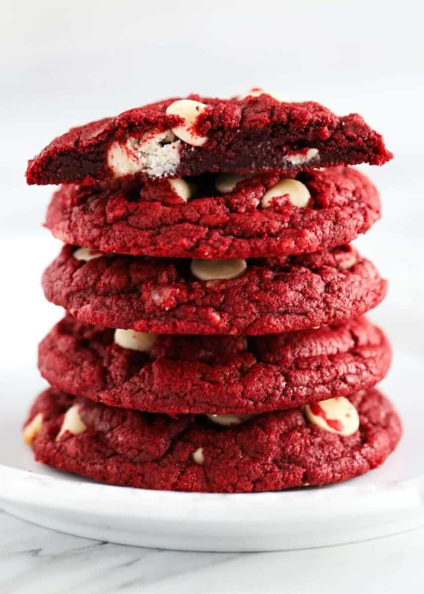 stack of red velvet cake mix cookies on plate