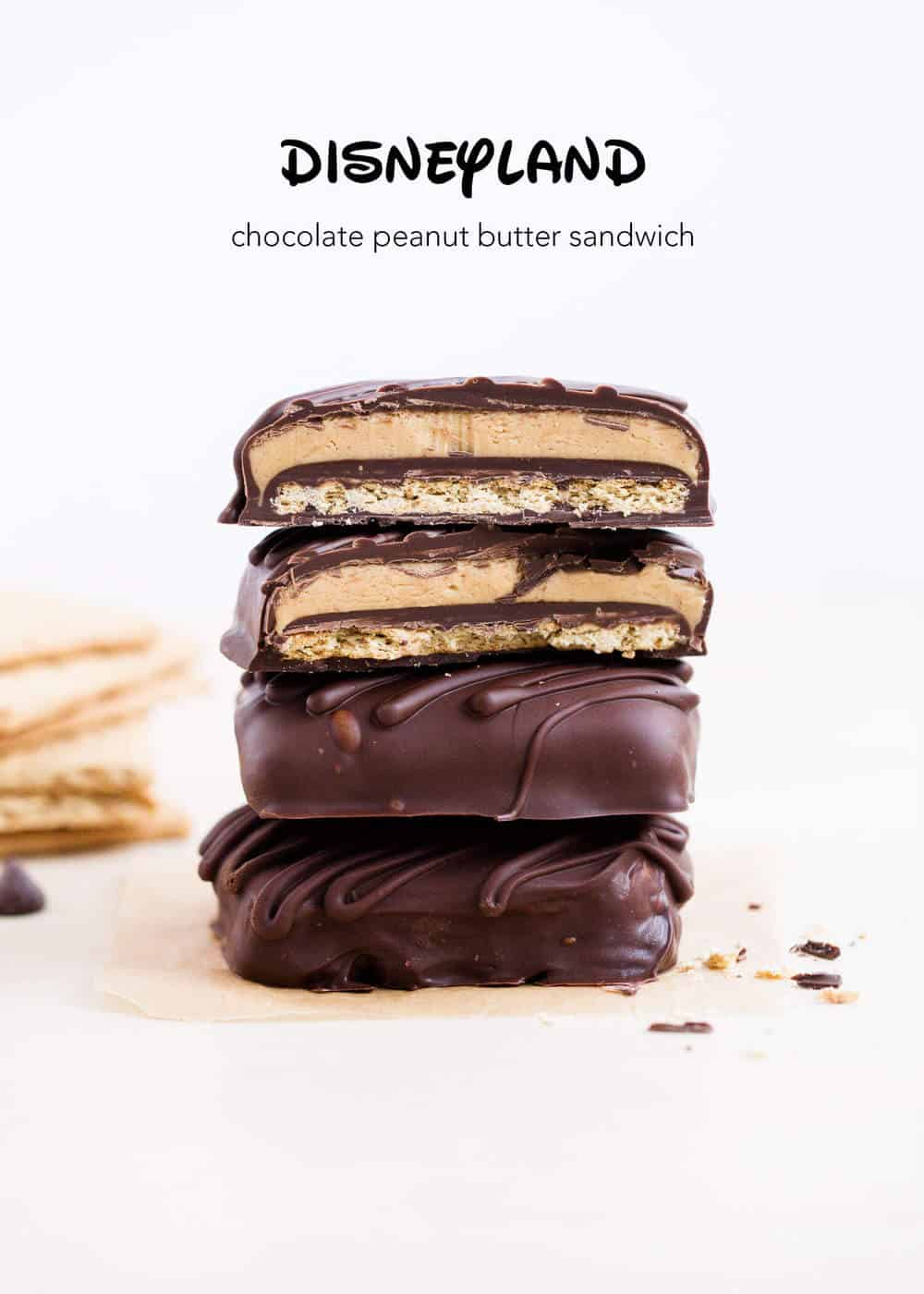 stack of chocolate peanut butter graham cracker sandwiches