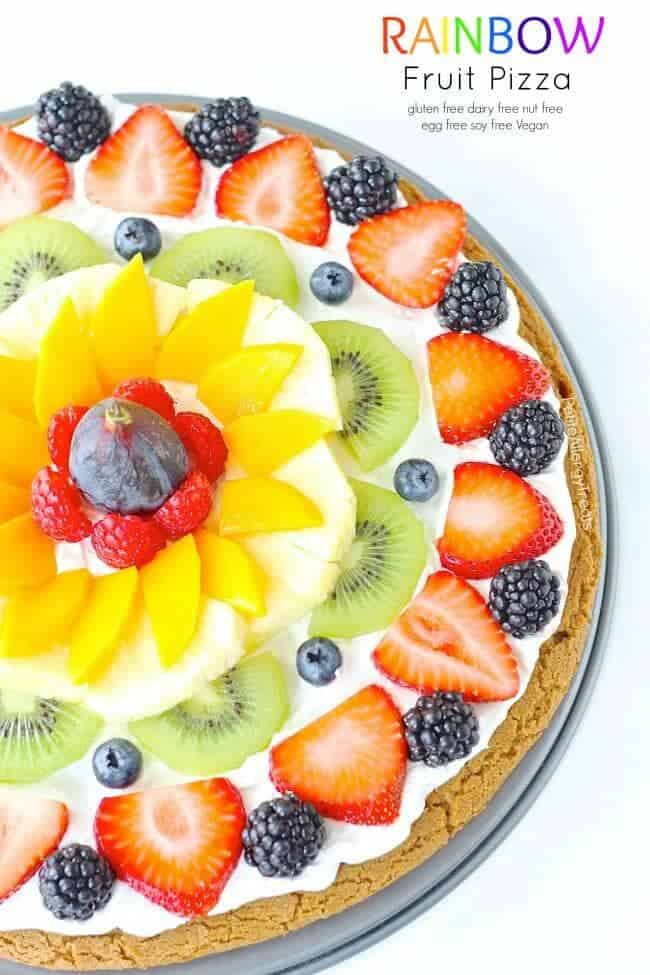 Rainbow fruit pizza + Top 50 Rainbow Desserts - the perfect way to celebrate St. Patrick's Day and welcome spring!