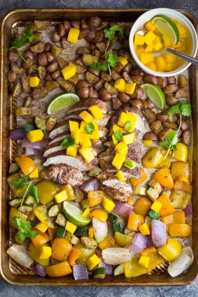 Jamaican Chicken + 25 Delicious Sheet Pan Dinner Recipes that will make dinnertime a dream with easy prep work and less dishes!