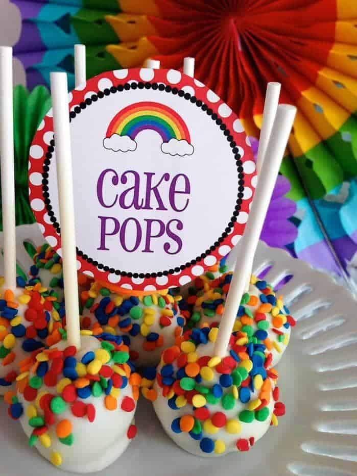 Rainbow cake pops + Top 50 Rainbow Desserts - the perfect way to celebrate St. Patrick's Day and welcome spring!