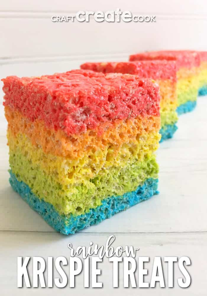 Rainbow rice kripsie treats + Top 50 Rainbow Desserts - the perfect way to celebrate St. Patrick's Day and welcome spring!