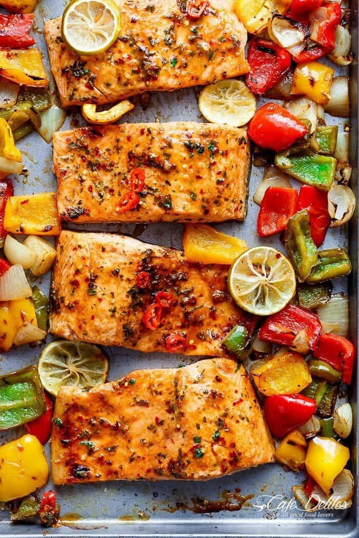 Chili lime salmon + 25 Delicious Sheet Pan Dinner Recipes that will make dinnertime a dream with easy prep work and less dishes!