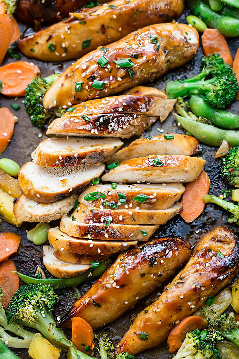 Teriyaki chicken + 25 Delicious Sheet Pan Dinner Recipes that will make dinnertime a dream with easy prep work and less dishes!