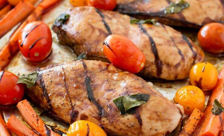 One Pan Balsamic Chicken and Veggies ...a healthy, EASY and delicious dinner recipe! A meal the whole family will love!