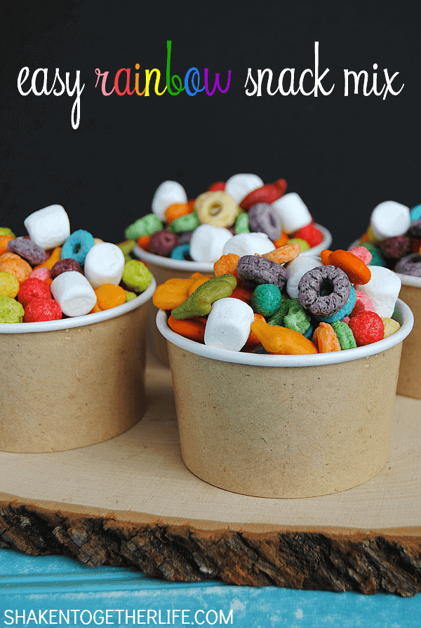 Rainbow snack mix + Top 50 Rainbow Desserts - the perfect way to celebrate St. Patrick's Day and welcome spring!